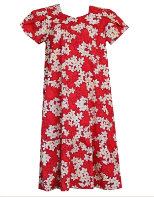 red Hawaiian muumuu with white and yellow plumeria flowers and silhouetted red plumeria in the background
