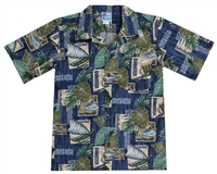 Boys Hawaiian shirt with canoes and tropical leaf in a allover block print design