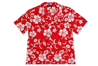 Womens red Aloha shirt with white hibiscus flowers in a allover print