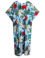 Womens mid-calf length Kaftan contains red hibiscus flowers, white yellow plumeria, palm trees and a mix of green tropical fronds printed on a beautiful sky blue fabric.