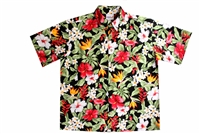 Hawaii Tropical Garden shirt is a black mens Hawaiian shirt with a vividly colored floral all-over print