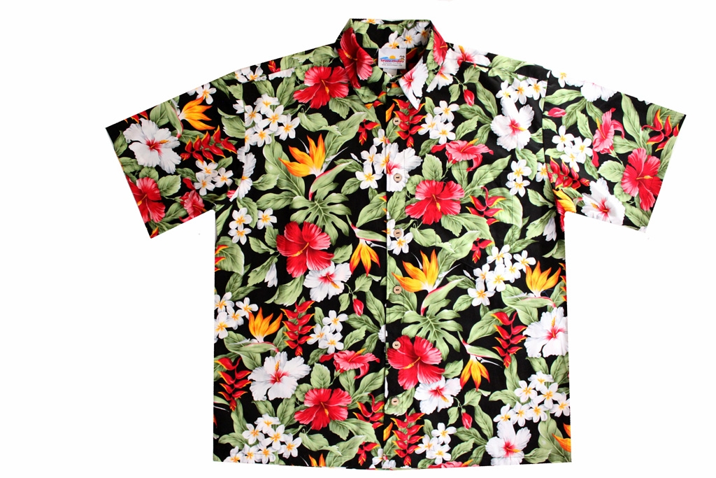 17018569 Hawaii Tropical Garden shirt is a black mens Hawaiian shirt with a vividly  colored floral all