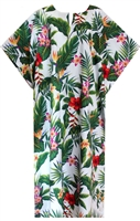 Womens mid-calf length white Hawaiian print kaftan with a variety of multicolor tropical flowers and foliage