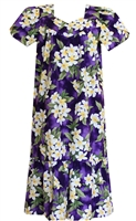 Wave Shoppe Mid-Calf White Plumeria Purple Muumuu