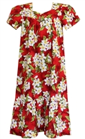 Wave Shoppe Mid-Calf White Plumeria Red Muumuu