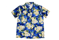 Womens blue Hawaiian shirt with white Plumeria flowers with leafs in an allover print