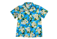 Womens turquoise Hawaiian shirt with white Plumeria flowers and green foliage