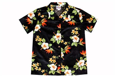 Womens black Hawaiian shirt with frangipani, hibiscus, and orange bird of paradise flowers
