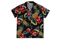 Black womens Hawaiian shirt with fronds, pineapples, and red hibiscus flowers like you see in Dole Pineapple Plantation gardens