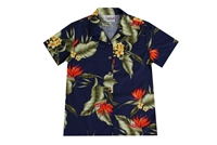Wave Shoppe Womens Blue Hawaiian Shirt with Bird of Paradise Flowers