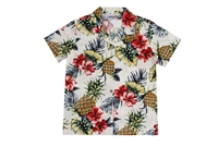 Wave Shoppe Womens Hawaiian Shirt with Pineapples