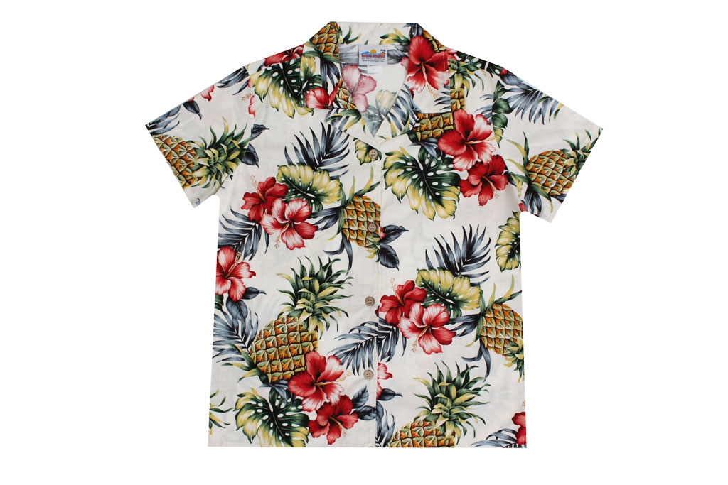 880bd9d0f3d936 Wave Shoppe Women s Hawaiian Shirt with Pineapples