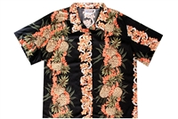 Womens black rayon Hawaiian shirt with golden pineapples intertwined with coral flowers in a  vertical design