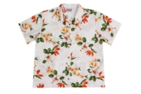 Womens white Hawaiian shirt with plumeria, hibiscus and orange bird of paradise flowers