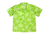 Womens hot lime colored polycotton Hawaiian shirt with a subtle allover floral design