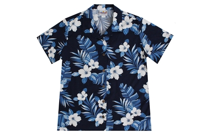 Womens navy blue Hawaiian shirt with white hibiscus flowers and banana leaf
