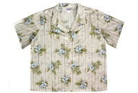 Womens sage colored rayon Hawaiian shirt with smaller white and blue hibiscus flowers in a allover print