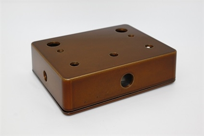 1590BB Drilled for 3 Knobs and 2 Switches Horizontally in Copper