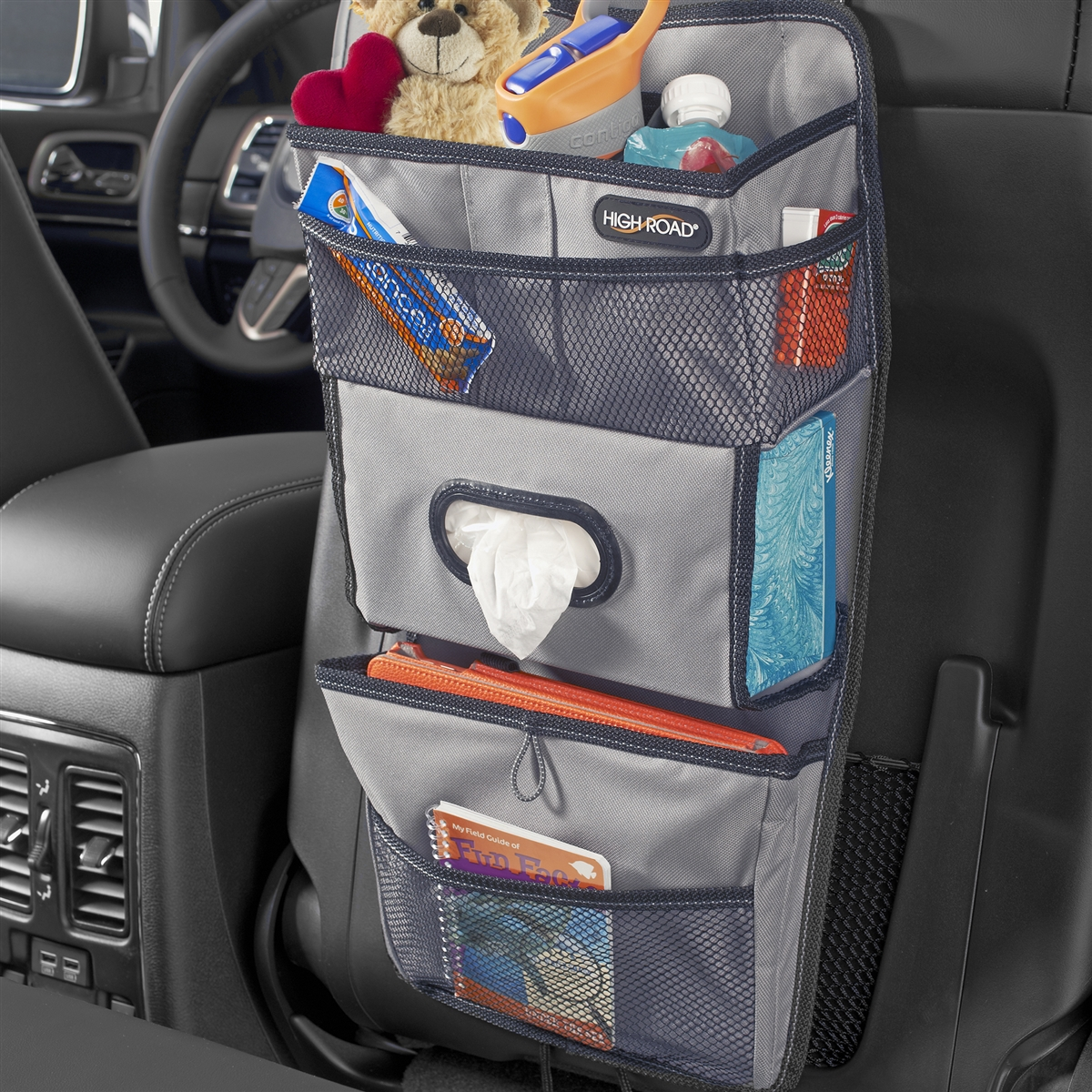 High Road TissuePockets Gray Seat Back Car Organizer And Tissue