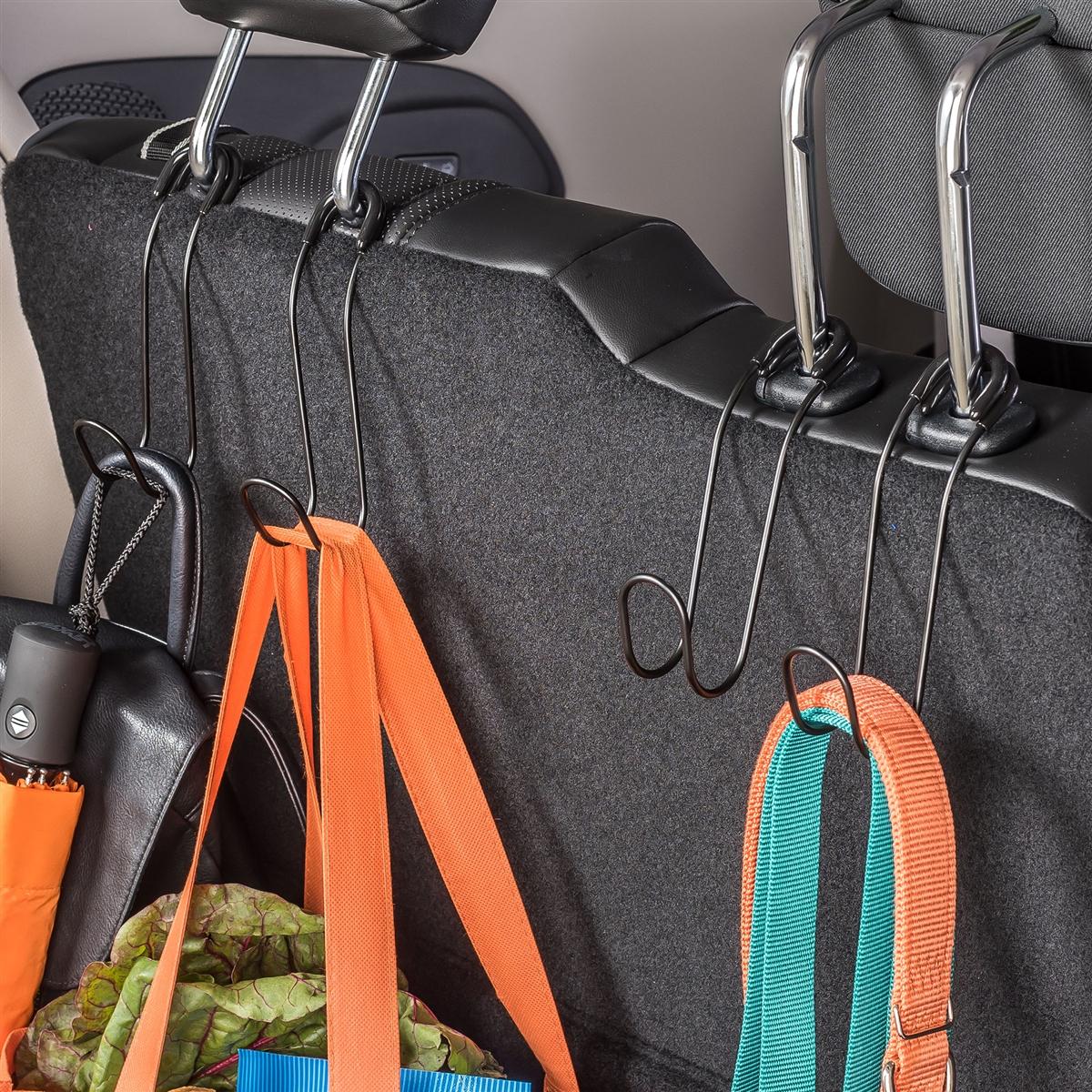 Set Of 2 Black Car Headrest Hooks Add Instant Storage To The Seat
