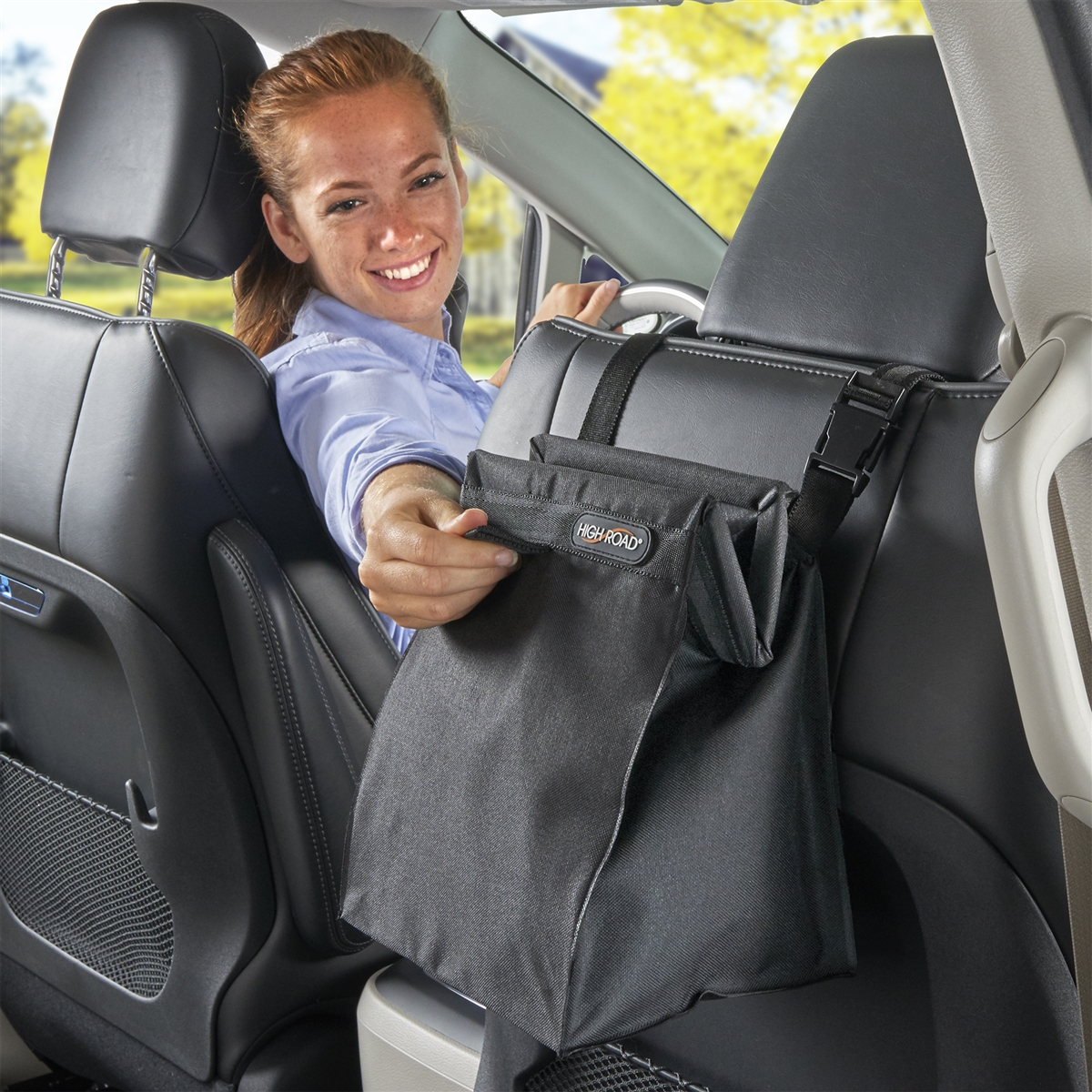 Baja High Road TrashStash Hanging Car Trash Bag with Leakproof Lining and Spring Closure