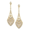 Dramatic Gold Vintage CZ Bridal Earrings<br>1072E-G