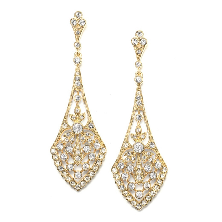 Dramatic Wholesale Bridal Earrings in Vintage CZ Gold - Mariell ...