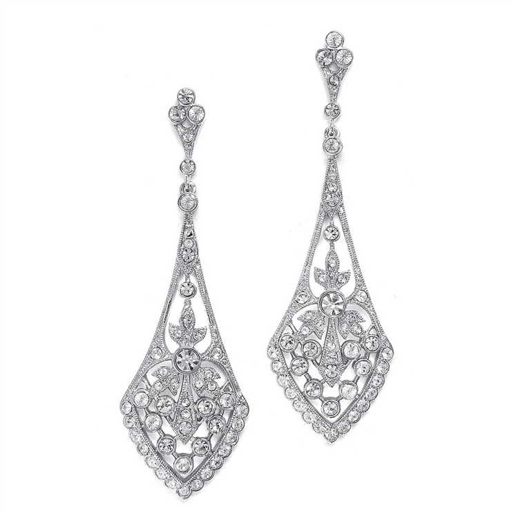 Dramatic Vintage Bridal Earrings in Cubic Zirconia<br>1072E-S