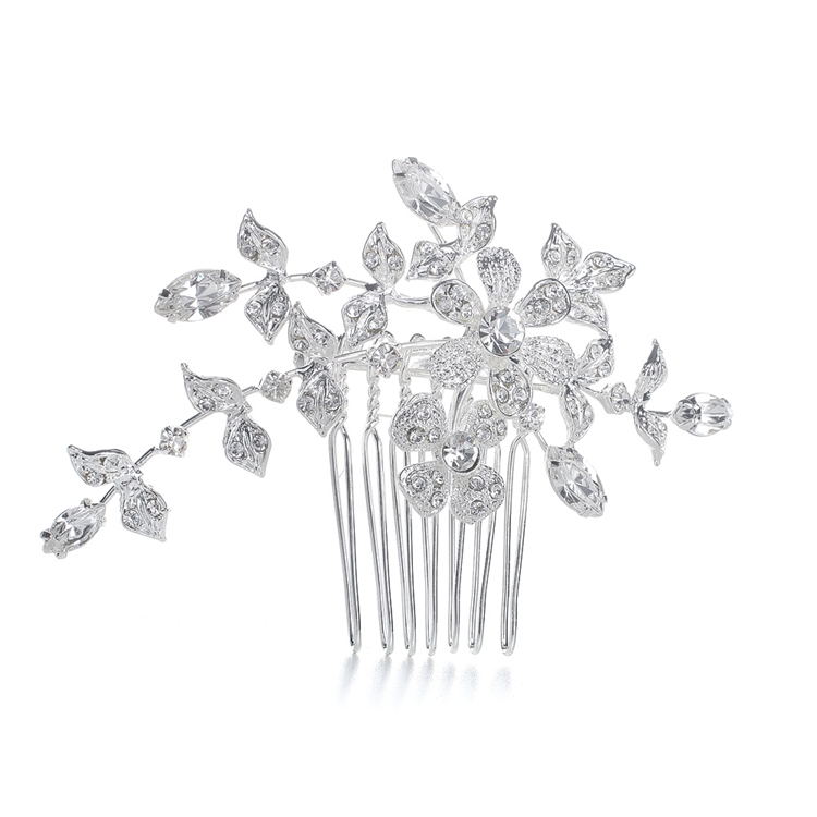 Wedding or Bridal Comb/Brooch with Crystal Garden<br>1073H-S