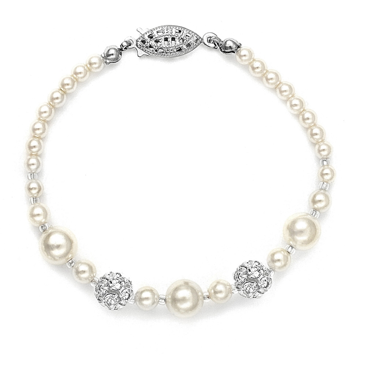Best Selling Bridal Bracelet with Pearls & Rhinestone Fireballs - Dark Ivory<br>1125B-DKI-S