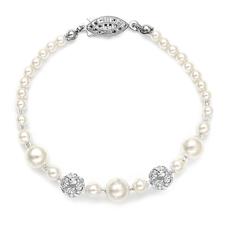 Plus Size Wedding Bracelet with Pearls & Rhinestone Fireballs - Ivory<br>1125B-S-8XL