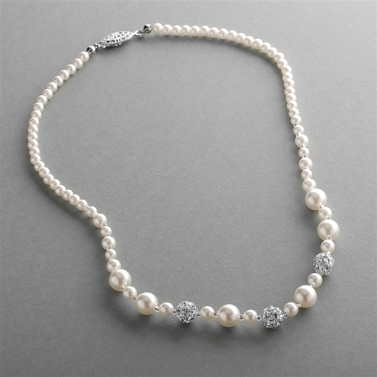 Dainty Wedding Necklace with Pearls & Rhinestone Fireballs - Ivory<br>1125N-I-S
