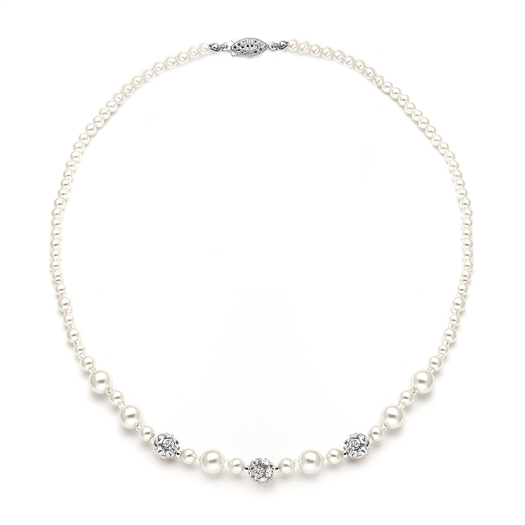 Best Selling Bridal Necklace with Pearls & Rhinestone Fireballs<br>1125N-I-S-20XL