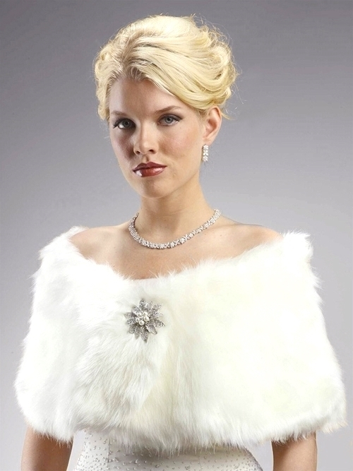 Faux Fur Bridal Wrap with Ivory Cream Fox<br>116W-CM