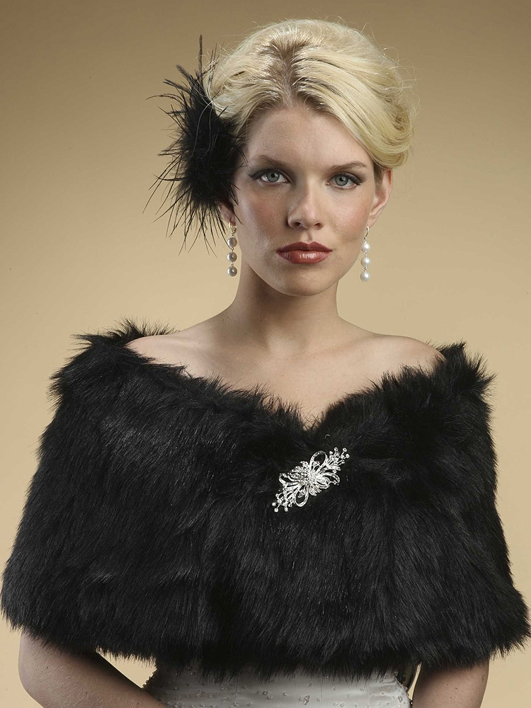 Faux Fur Shawl with Jet Black Fox<br>116W-JE