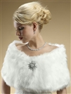 Faux Fur Bridal Wrap with Pure White Fox<br>116W-W