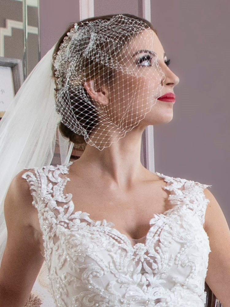 French Net Bridal Birdcage Blusher Visor Veil - White<br>122V-W
