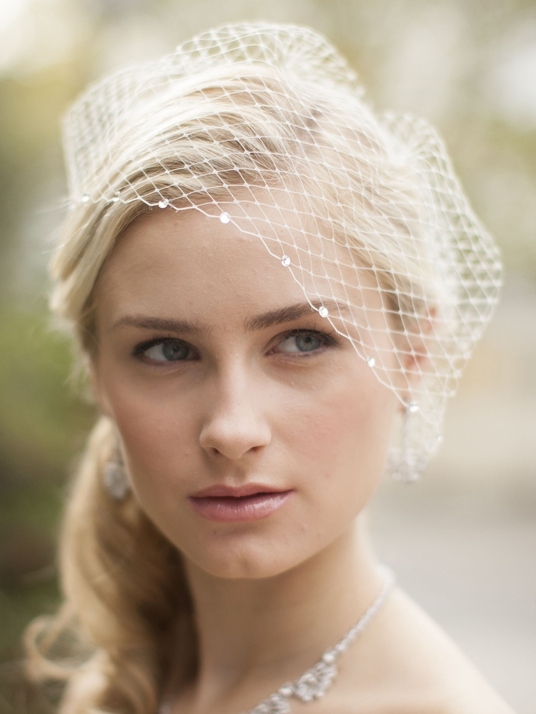 French Netting Bridal Birdcage Visor Veil with Crystals - Ivory<br>123V-I