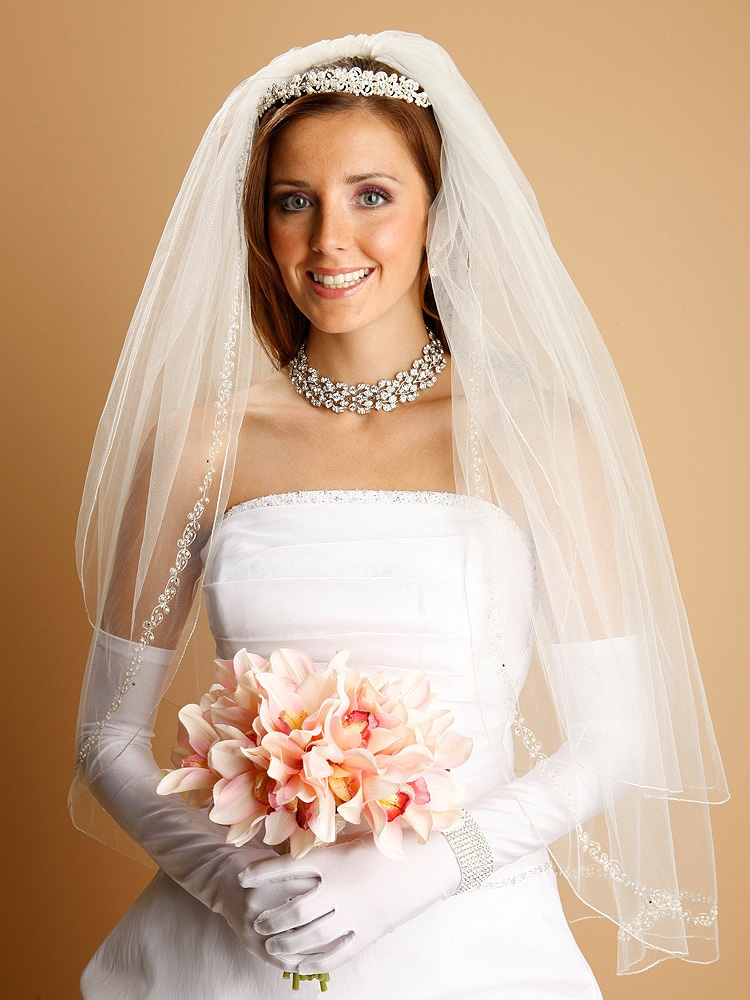 2-Row Ivory Fingertip Veil with Silver Pencil Edge, Pearls, Swarovski Crystals, Seeds & Chain<br>1400V-I-S