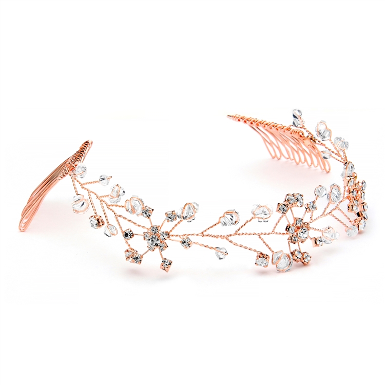 Swarovski Crystal Bridal Tiara Vine in Rose Gold<br>1402H-RG