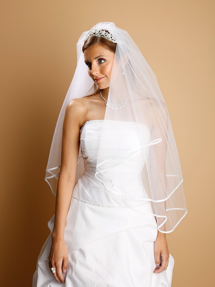 2-Tier Circular Cut Wedding Veil with Folded Satin Ribbon Edging<br>1546V-30