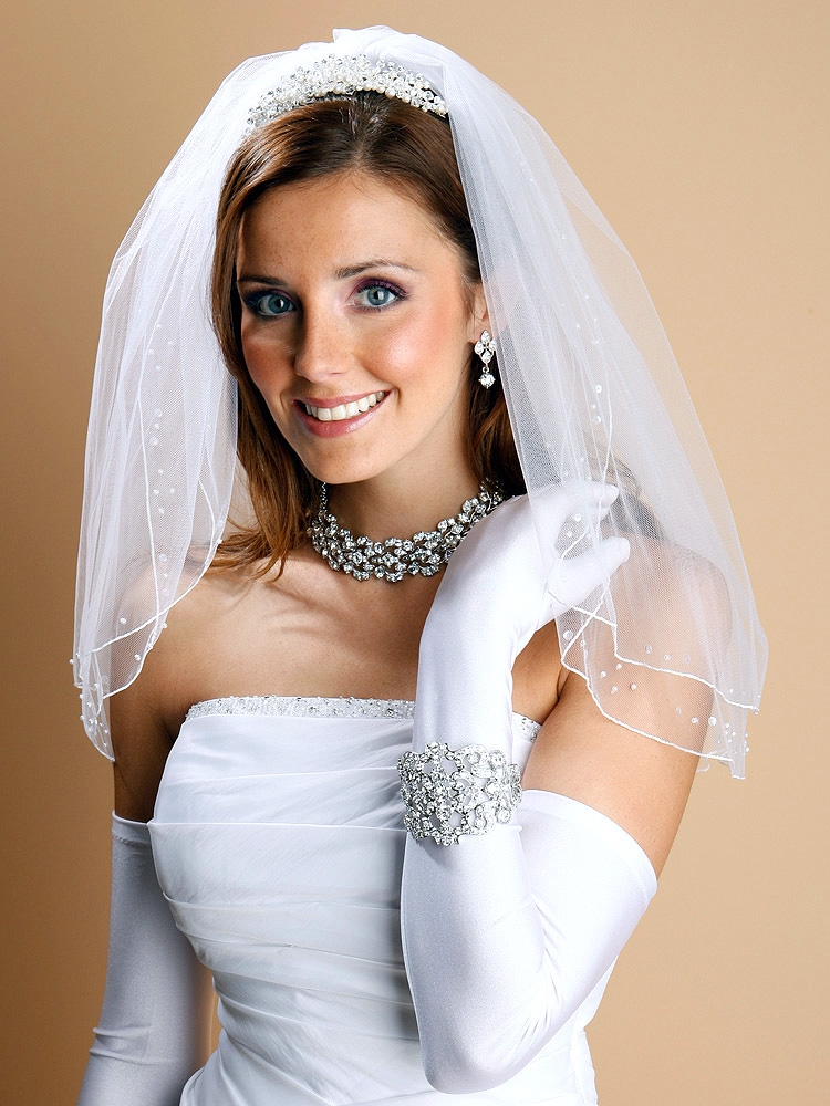 2-Row Pencil Edge White Bridal or Flower Girl Veil with Scattered Pearls & Sequins<br>1548V-W