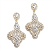 Art Deco Fan Rhinestone Earrings<br>156E-CR-G