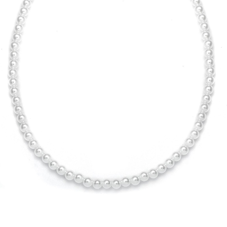 Single Strand 6mm Pearl Wedding Necklace<br>182N