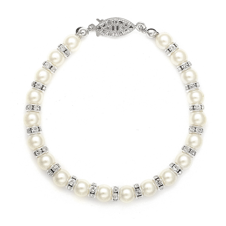 Alternating Pearl and Rondelle Wedding Bracelet<br>189B