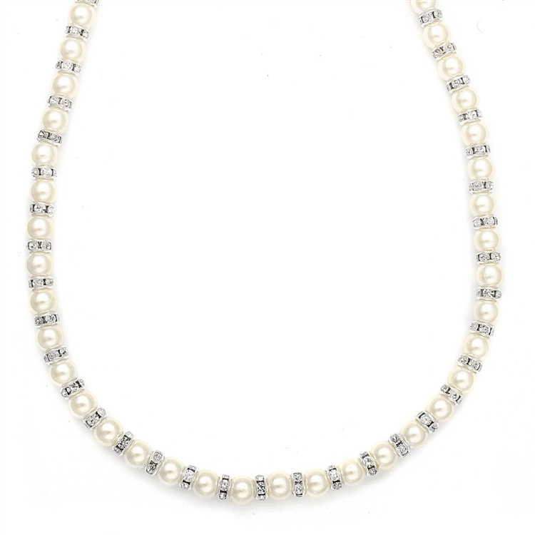 Alternating Pearl and Rondelle Wedding Necklace<br>189N
