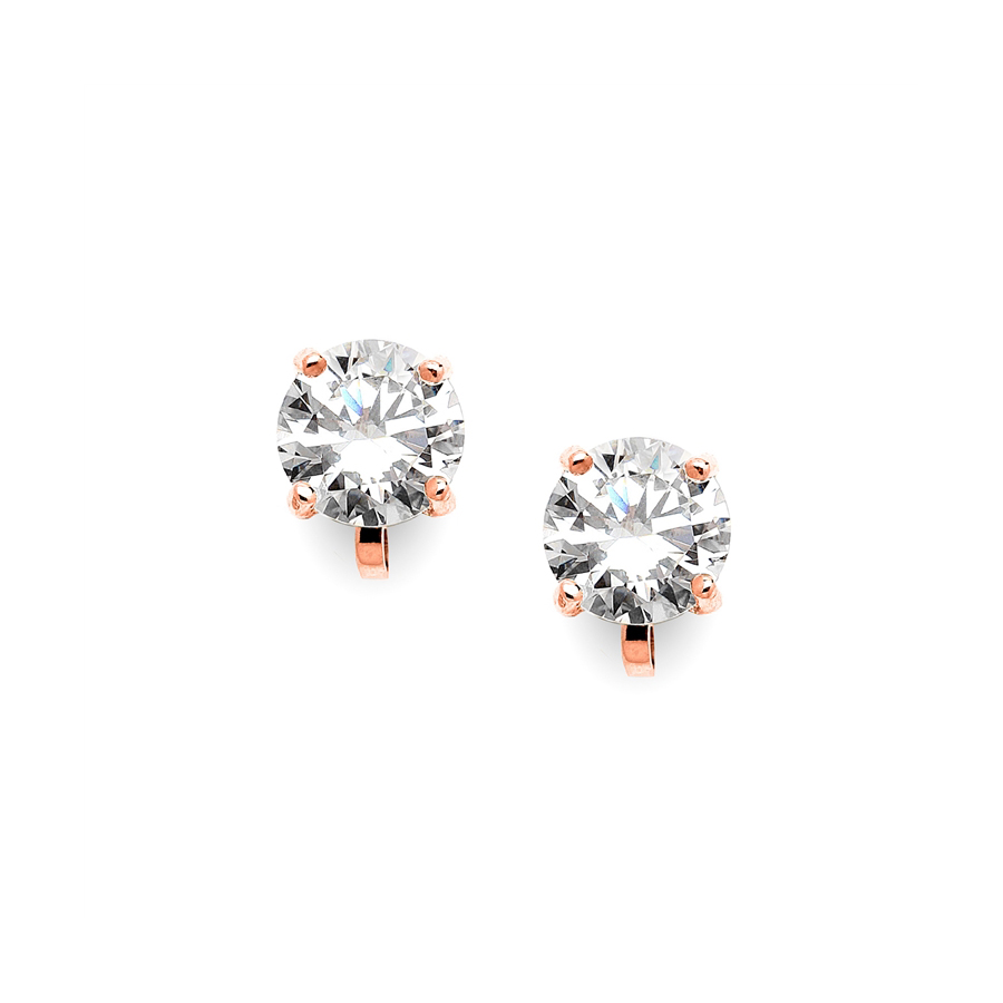 Rose Gold Clip-On Earrings with 2 Carat 8mm CZ Solitaire<br>2002EC-RG