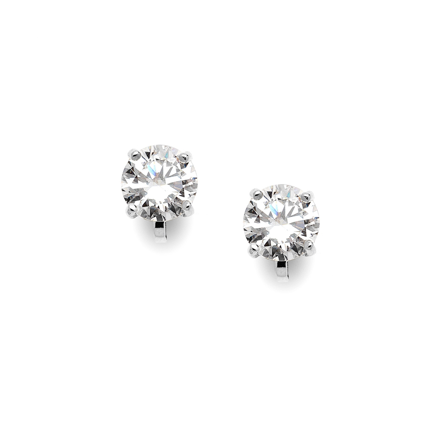 Clip-On Earrings with 2 Carat 8mm CZ Solitaire<br>2002EC