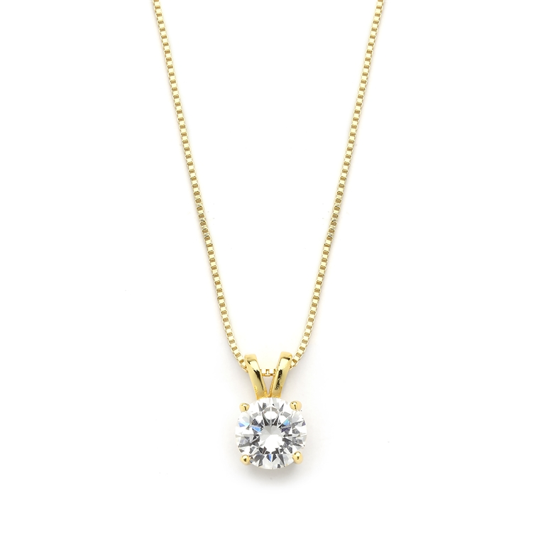 Delicate 14K Gold CZ Round-Cut Necklace with Double Loop Top<br>2002N-G