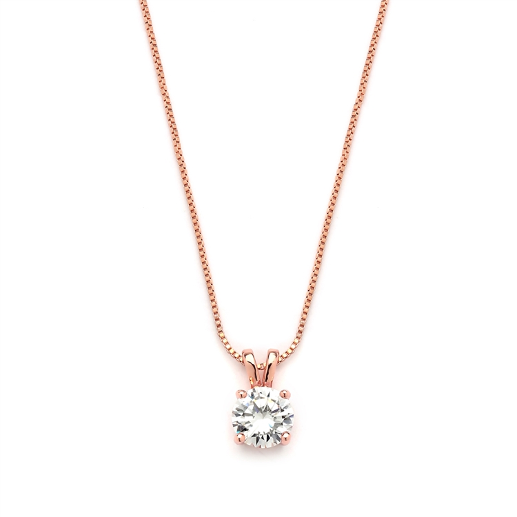 Delicate 14K Rose Gold CZ Round-Cut Necklace with Double Loop Top<br>2002N-RG